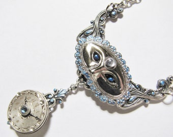 Steampunk Masked Pendant Necklace with Vintage Silver Engraved Watch Dial PN32