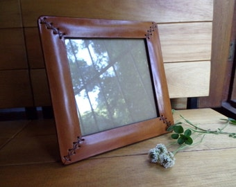 Leather frame. Square.  Photo frame. With decorative hand sewing. For photo 6x6 inches (15x15 cm). Desk accesory. Light brown.