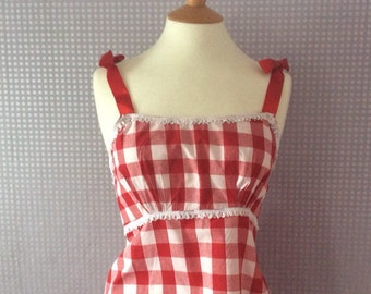 Red and white gingham pj set