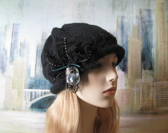 Women's Knitted Hat, Winter Hat, Chunky Yarn, Slouchy Beanie, Black Hat, 'Monique', Steam Punk Hat