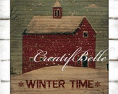 Vintage Red Barn on Wood 8 x 8 inch Instant Digital Download Printable Christmas Holiday Graphic Transfer Image