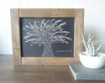 Chalk Art Print framed in wood/Galations 5:22-23//fruit of the spirit tree