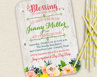 Superb Rustic Baby Shower Invitation, Floral Baby Shower Invitation, Twins Baby  Shower Invitation, Blessing