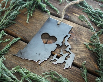 Rhode Island Christmas Ornament RI Metal State Heart Christmas Tree Ornament Holiday Gift Industrial Decor Wedding Favor By BE Creations