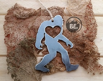 BigFoot Sasquatch Rustic Christmas Ornament Metal Yeti Heart Christmas Tree Decoration Holiday Gift Industrial Decor Wedding By BE Creations