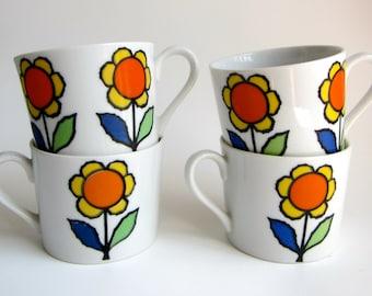 Retro Mod Flower Power Sunflower Porcelain Mugs/ Cups Made in Japan