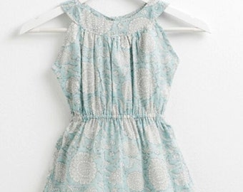 Dress girl, elastic on the chest, blue print
