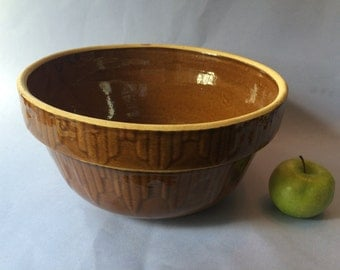 Vintage Brown Glazed Yellow Ware Stoneware Picket Fence Pattern Bowl