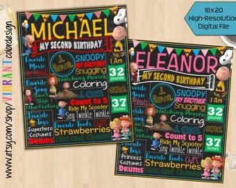 Peanuts Movie Birthday Chalkboard, Charlie Brown Birthday Poster,Snoopy Birthday Milestone Board,Peanuts Chalkboard Sign,Charlie Brown Decor