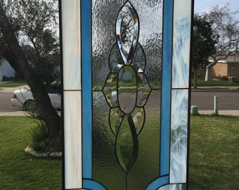 Lovely! Wispy White & Blue Classic beveled Stained Glass Panel - We do custom work!