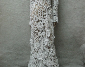 Wedding crochet maxi dress Handmade White Dress wedding dress Crochet white dress irish lace dress Summer cotton Dress crochet wedding gown