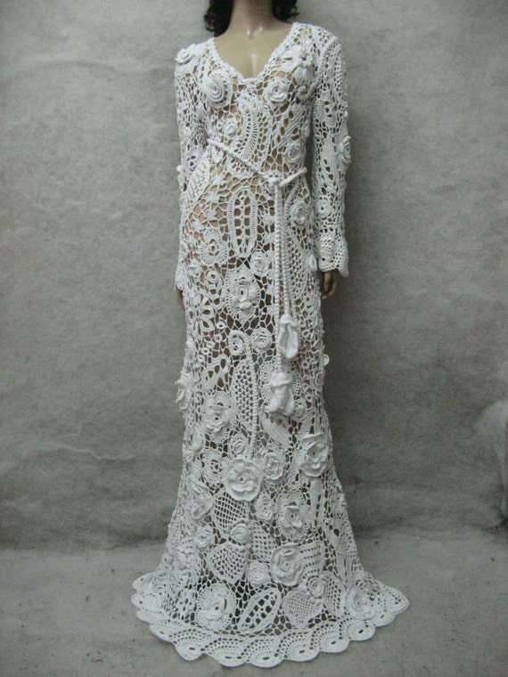 Wedding crochet maxi dress handmade white dress wedding dress for Crochet wedding dress pattern
