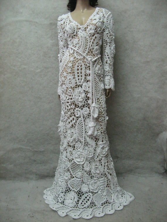 Wedding crochet maxi dress handmade white dress wedding dress for Crochet wedding dress patterns