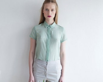 Christmas  in July Summer Women Blouse, Women Mint Shirt, Women Button Up Shirt, Women Mint Top