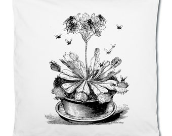 Venus Fly Trap Plant Pot Insect Illustration Graphic White Cotton Cushion Cover Pillowcase. 40 x 40 cm.