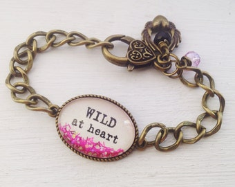 Wild at heart personalized bracelet, quote bracelet, quote jewelry, heart bracelet