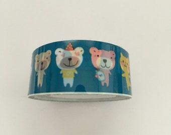 Plastic tape, cute animals, 1,5cm breed 2 meter lang
