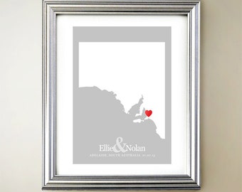 South Australia Custom Vertical Heart Map Art - Personalized names, wedding gift, engagement, anniversary date