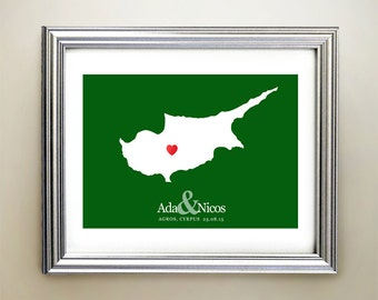 Cyprus Custom Horizontal Heart Map Art - Personalized names, wedding gift, engagement, anniversary date