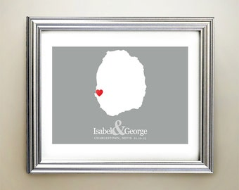 Nevis Custom Horizontal Heart Map Art - Personalized names, wedding gift, engagement, anniversary date