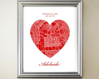 Adelaide Heart Map Print