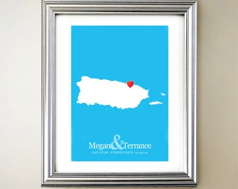 Puerto Rico Vertical Heart Map Art - Personalized names, wedding gift, engagement, anniversary date
