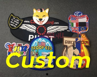 50 Custom embroidered badge , iron on embroidered badge custom logo, (L+W)/2=3.5 inch