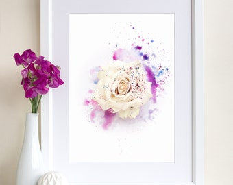 Rose Painting, Rose Print, Rose Photography, Mixed Media Art, Floral Art Print, Gift for Women, Botanical Print, Giclee Art Print