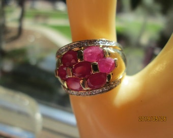 Handcrafted Designer 5.32tcw Genuine Red Ruby & HS-I Diamond Accents 14KT Gold/925 Sterling Silver Ring Sz 9, Wt.6.1 Grams