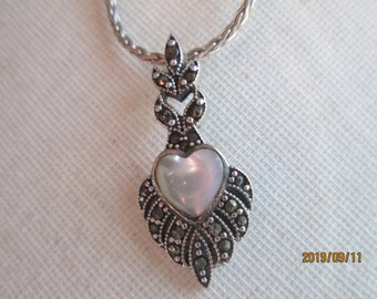 Vintage Inspired Genuine Mother of Pearl Heart and Marcasite Sterling Silver 925 Milgrain Heart Pendant, Wt. 3.9 Grams