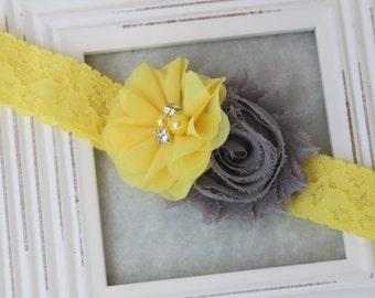 Grey and yellow headband, grey headband, yellow lace headband, flower girl headband toddler lace headband grey and yellow girls headband