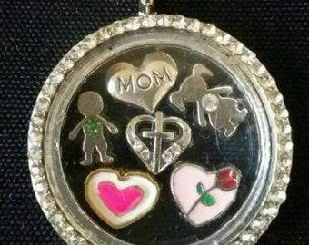 Private listing for locket, charms, 9.25 sterling silver chain. Free shipping.