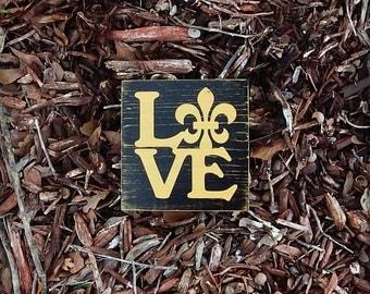Mini New Orleans Saints Love Sign, Louisiana Saints, Southern Decor, Saints wooden sign, Man Cave, Cajun decor, Black and Gold Decor