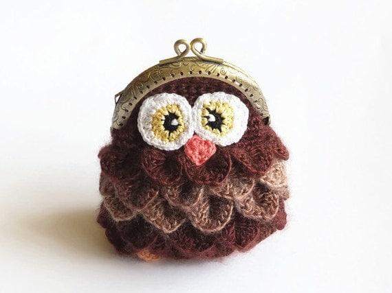 Crochet Kiss Stitch : Crochet Crocodile Stitch coin purse - Owl Coin purse - Crocodile ...