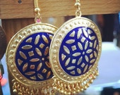 Royal blue and gold Made in India vintage earrings with brand new hooks