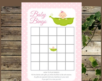 Pink Baby Shower Bingo Cards, Girl Pea in a Pod Printable Baby Shower Bingo, Instant Download Baby Bingo Cards, Baby Shower Girl