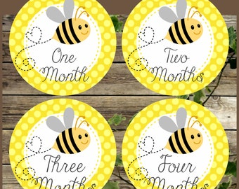 Baby Month Stickers, Printable Bee Baby Monthly Stickers, Instant Download, Printable Transfer on Iron, Baby 12 Months, Yellow Bee Stickers