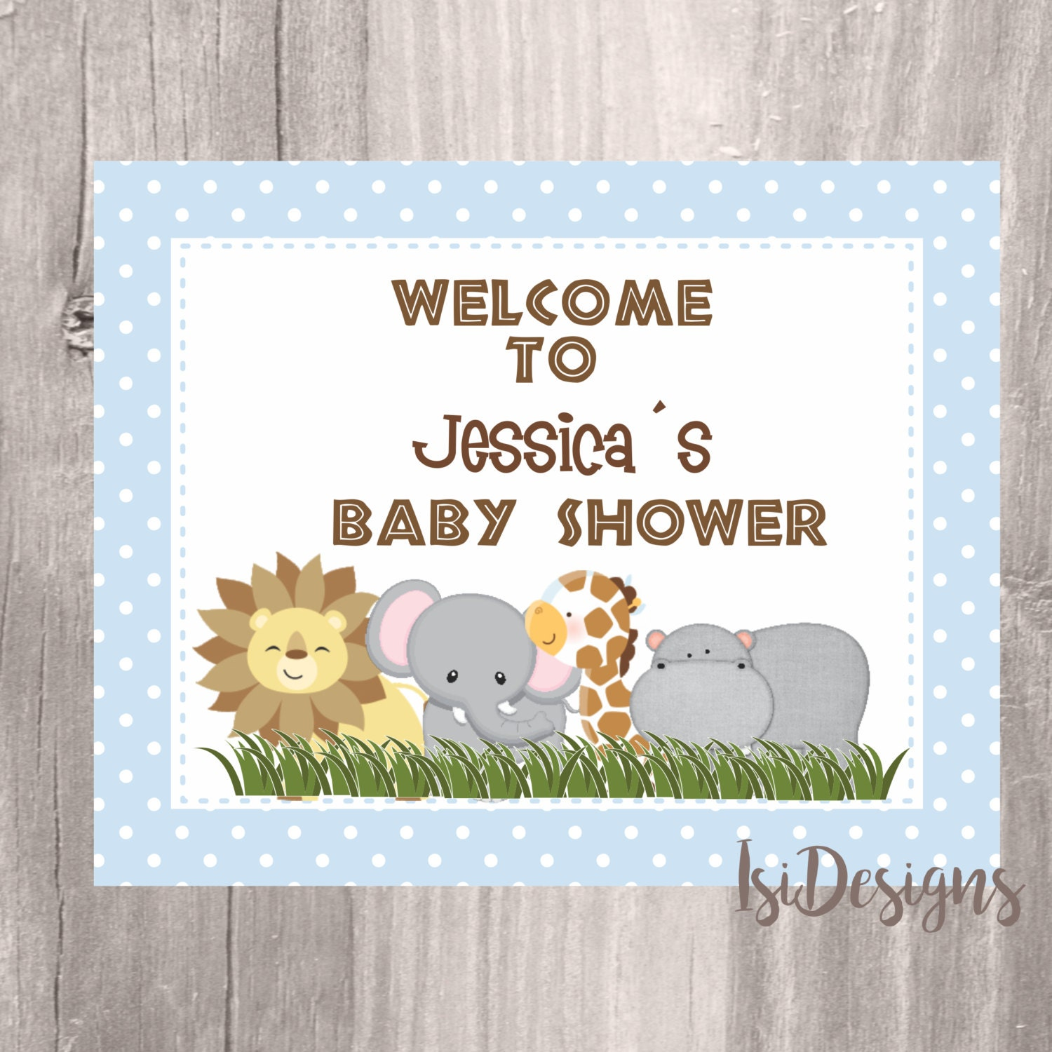 safari baby shower printable sign 8 x 10 jungle animals