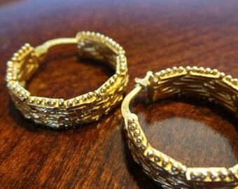 Milor Italy 925 Silver Earrings Basket Weave   Vintage Earrings   Couture Retro Designer Earrings
