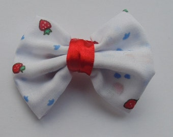 Strawberry Print Single Bow