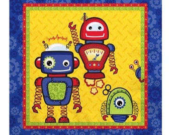 16 Count - Robots - Luncheon Napkin - Baby Shower or Birthday Party Supplies