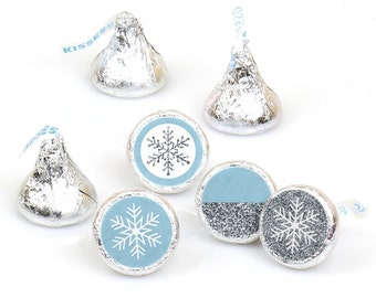 Hershey Kiss® Stickers - Winter Wedding - Round Candy Label Party Favors - Winter Wonderland - Hershey Kisses Labels - 108 per Sheet
