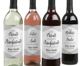 Family Pregnancy Announcement - Custom Pregnancy Announcement Wine Bottle Labels - Set of 4 Personalized Sticker Labels