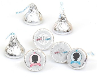 Hershey Kiss® Stickers - Gender Reveal - Round Candy Label Party Favors - Baby Shower - Hershey Kisses Labels - 108 per Sheet