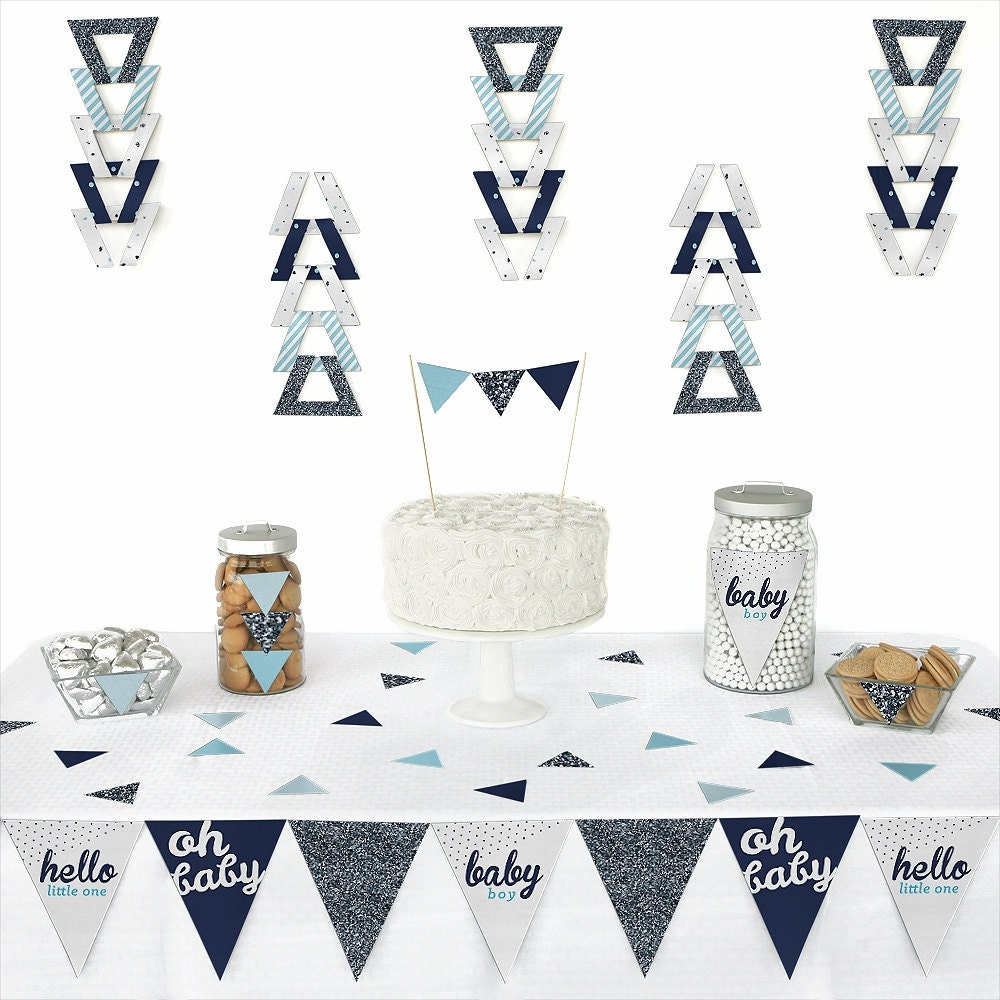 Hello little one blue and silver pennant decoration for Baby boy shower decoration kits
