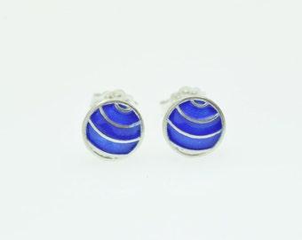 Circle Earrings,Geometric Stud Earrings,Tiny Circle,Small Stud Earrings,Geometric Post Earrings,Enamel Earrings,Enamel Jewelry, Cobalt Blue