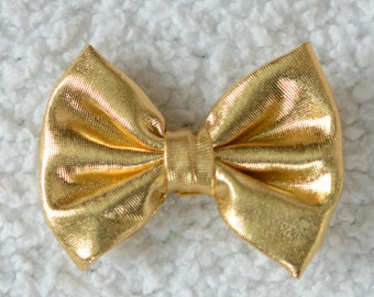 "2.75"" Shiny Bow, Embellishment for Hair Bows and Headbands, DIY Hairbow Supplies, Hair Bow, Gold, Lot of 1 or 2"