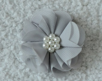 2.5 inch Chiffon Pearl Flower Head, Wholesale Flower Heads for Baby Headbands, Embellishment, Lot of 1, 2, 5 or 10, Grey
