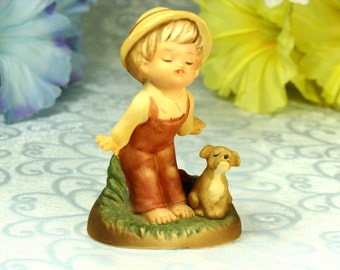 Charming Little Bare Footed County Boy With His Puppy Vintage Porcelain Figurine