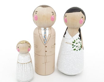 CUSTOM wedding cake topper peg dolls // family of 3 // personalized wedding cake toppers